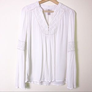 Knox Rose Ivory Long Slv Peasant Embroidered Top S